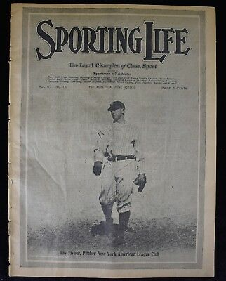 1916 Sporting Life Baseball Magazine Ray Fisher NY Yankees Highlanders