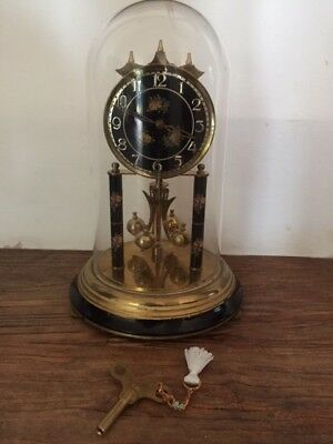 Vintage Large Schatz Anniversary Clock-Black Face-Dome Lid-With Key/instruction