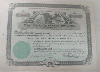 First National Bank of Braddock, PA 1948 Stock Certificate- Pittsburgh PA