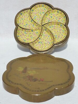 7pc Antique Chinese Hand Painted Wood Box Cloisonne Appetizer Dish Tray Set 5178