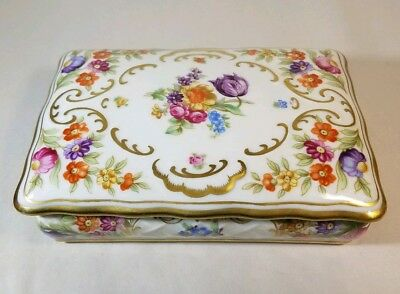 Vintage Schumann Arzberg Bavaria Germany Beautiful Colorful Flowers Trinket Box