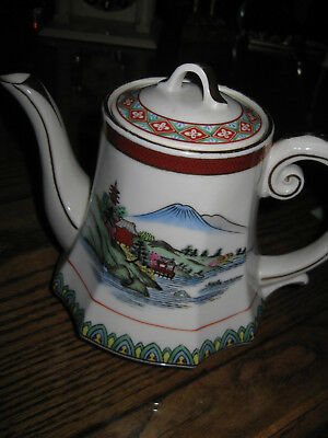 Vintage Porcelain Japanese Teapot KUTANI White with Gold Landscape Design pagoda