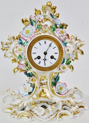 French Sevres Porcelain Mantle Clock Hand Painted  Floral Cased 8 day Striking