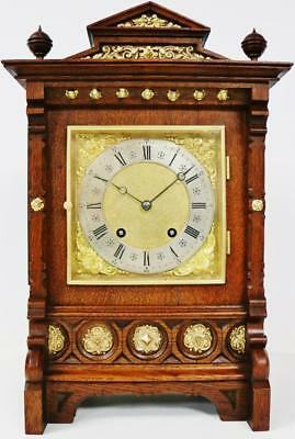 Antique German Lenzkirch Bracket Clock 8 Day 1/4 Striking Ting Tang Carved Oak