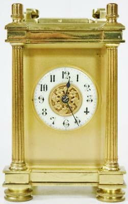 Antique French 8 Day Masked Dial Striking Carriage Clock, Platform Escapement
