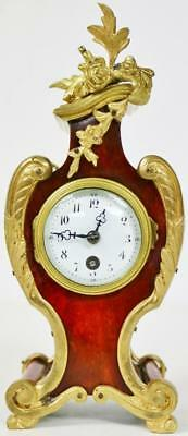 Small Antique French 8 Day Red Shell & Bronze Boulle Style Mantel Desk Clock