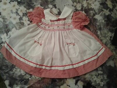 Vintage Red Infant Baby Dress Chiristmas Smocked