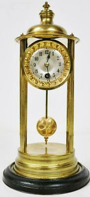 Small Antique French 8 Day Brass Bandstand Mantle Desk Clock, Silvered Dial