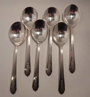 """Wm. Rogers Mfg. Co Allure Pattern Silverplate (6) Round Soup Spoons 7 1/8"""""""