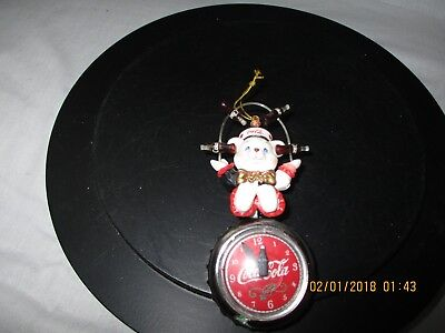 Coca Cola Holiday Ornament Bear juggling coke bottles sitting on a clock