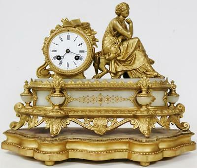 Antique French Mantel Clock On Base 8 Day Gilt Spelter Lady Figure Bell Striking