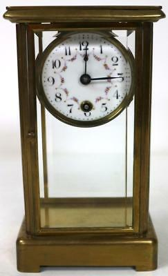 Antique French Mantel Clock Ormolu Decoration Visible Pendulum 4 Beveled Glass