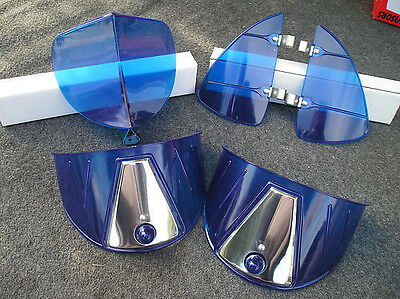 New Blue Vintage Style Hood Bug / Vent Deflectors / Head Light Visors !