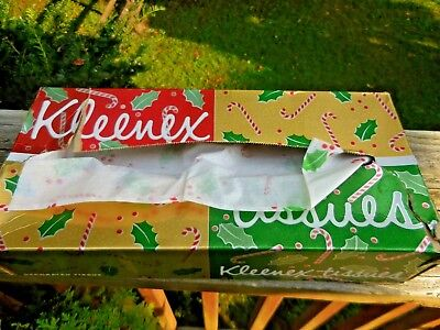 Vtg Kleenex Foil Box Christmas Holiday w/Decorated Candy Cane Print Tissues