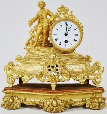 Antique 19thc French 8 Day Original Gilt Spelter Figural Mantel Clock On Stand