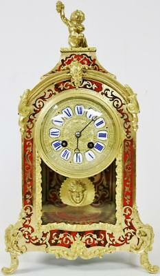 Antique French Boulle Mantel Clock 8 Day Red Shell & Bronze Mounted Brass Inlaid