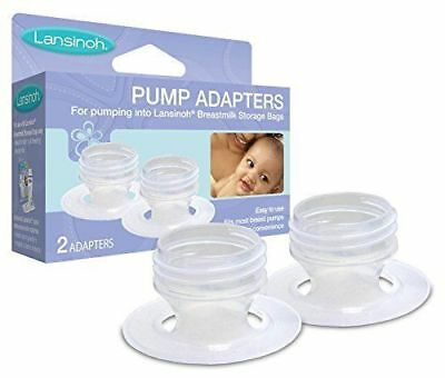 Lansinoh Pump Adapters, 2 Count, allows Direct Pumping of Breastmilk into Bags,