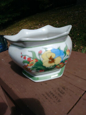 Vintage AAA Imports Porcelain Footed Floral Planter Bowl