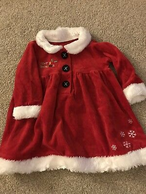 Mothercare Baby Girls Santa Christmas Dress 9-12 Months Excellent Condition