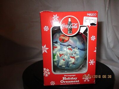 Coca Cola Enesco Holiday Ornament Decoupage Bears drinking Coke in the Arctic