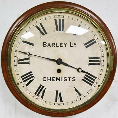 Rare Antique C1880 Chemist Dial Wall Clock Single Fusee Mahogany Station Public