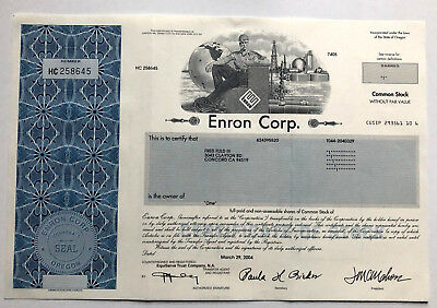 Enron stock certificate > infamous bankruptcy financial scandal accounting fraud