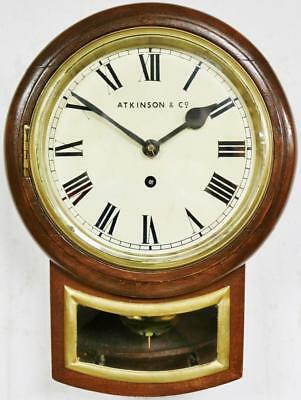 Antique English C1900 Station Public Drop Dial Wall Clock Oak Case Single Fusee