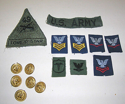 "Lot of 9 US Military Army Patches With 6 Gold Waterbury Eagle Buttons 7/8"" NICE"