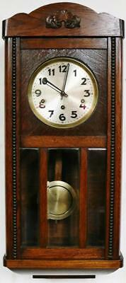Antique Westminster Chime Musical Wall Clock Musical Oak & Glass Art Deco C1930