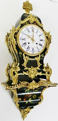 Rare Hand Painted Ebony Ormolu Mounted Rococo Bracket Clock On Original Bracket