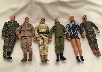 "Hasbro 2001 Pawtucket R.I. 12"" Poseable Dressed GI JOE Lot/6 Figures"