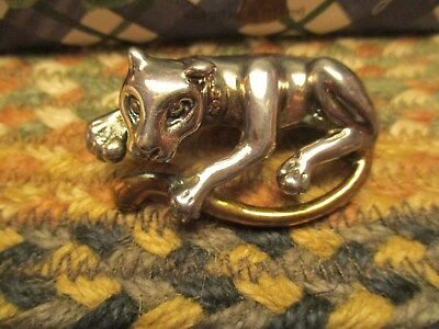 Vintage Costume Jewelry Brooch Pin Sterling Silver Cat Marked 925 Weighs 10 Gram