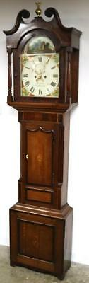 Antique C1825 English Day Mahogany Loughborough Longcase Grandfather Clock Gray