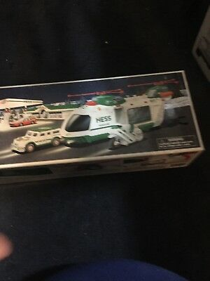 2001 Hess Toy Helicopter With Motorcycle And Cruiser Truck Brand New