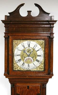 1770 English 8Day Solid Oak Brass Dial Dudley Longcase Grandfather Clock T Haden