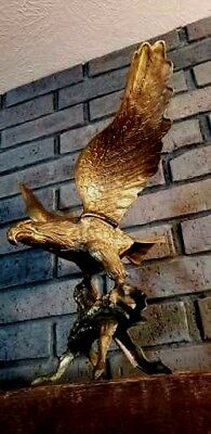 "VINTAGE LARGE BRASS EAGLE Bronze statue figurine Wing Span 16"" Gorgeous"