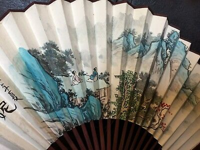 Chinese Vintage Antique Bamboo FAN SIGNED HAND WATERCOLOR PAINTED SCHOLAR ART