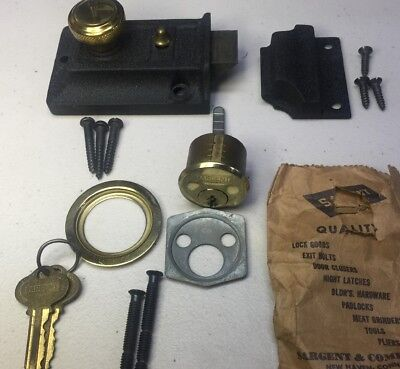 Vintage SARGENT 4277 Lock Cylinder RIM NIGHT LATCHES SET New Old Stock