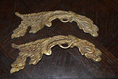Antique Pair French Bronze Ormolu Decorative Furniture Trim Pediment Mounts