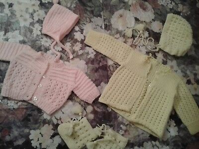 Simply Adorable Vintage Crocheted *hat *sweater *booties  Pink &yellow Christmas