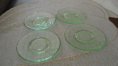 "Mosser Glass green miniature salad/dessert plates - ""Jennifer"""