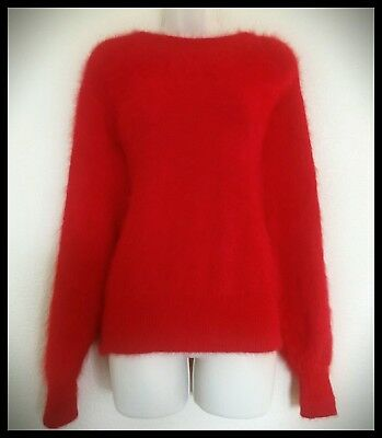 Vintage FUZZY Soft 80% ANGORA Long Sleeve SWEATER Red Pullover M/L