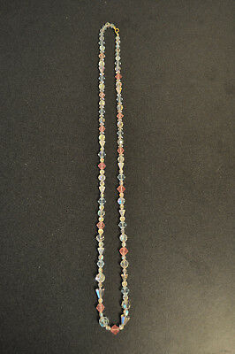 Vintage Faceted Clear, Blue & Pink Crystal Glass Bead Necklace  31 inch