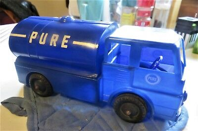 Vintage Pure Oil Plastic Truck Bank 1950's Gas Delivery Tanker Advertising
