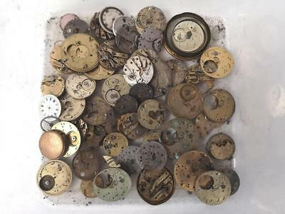 Huge Vintage Job lot Of Pocket Watch Movements & Backplates - Great Spares