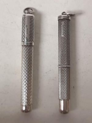 Beautiful Pair Of Top Quality Antique Solid Silver Telescopic Tooth Picks