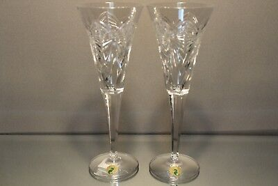 WATERFORD Millennium Happiness Toasting Flute Champagne Glass Crystal Set 2
