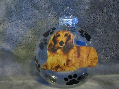 "Hand Made Long Hair Dachshund Dog 3"" Glass Christmas Ornament/ball"