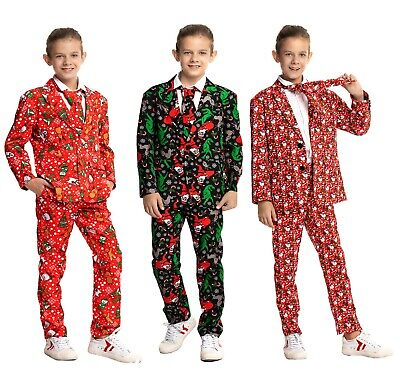 Boys Girl Christmas Costumes Suit Funny Children Party Suit Jacket with Tie Xmas