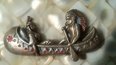 Vintage Antique Coin Silver Native American Maiden Canoe Painted Pin Brooch